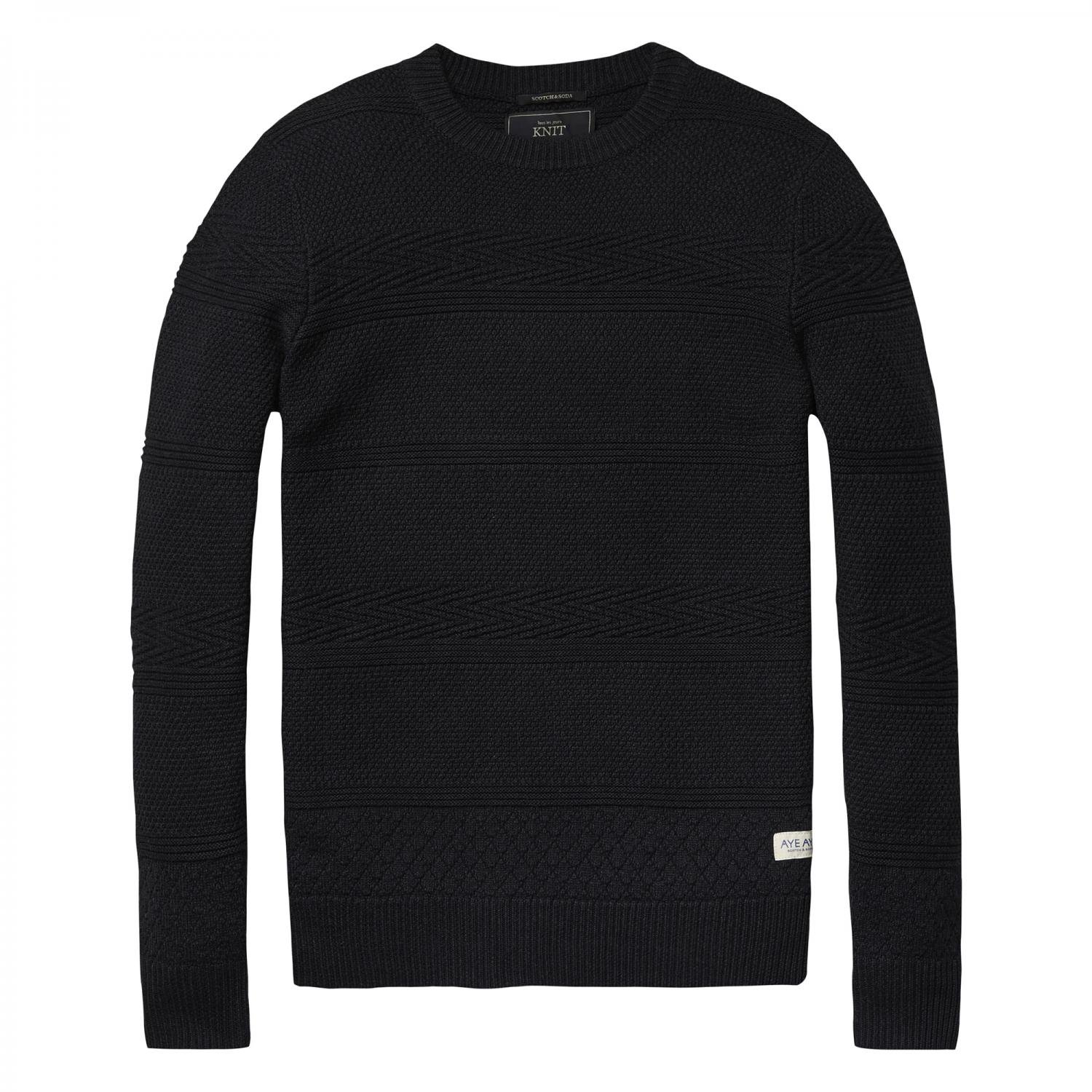 Scotch & Soda Herren Pullover Crewneck in Structure Knit 101665