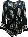 LookbookStore Women's Vintage Printed Trumpet Sleeve Short Jumpsuit Surplice