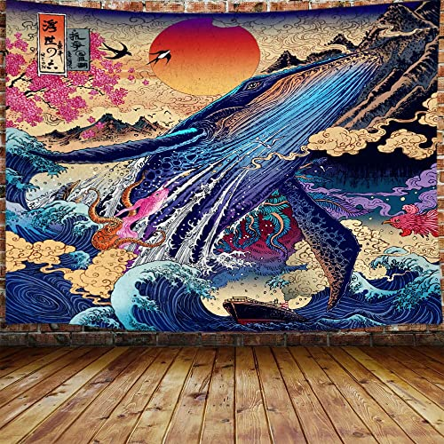 Japanese Whale Cool Decor Tapestry for Men, Sun The Great Wave Trippy Anime Large Tapestry Wall Hanging for Bedroom, Ukiyo-e Ocean Hippie Home Tapestry 90 W X 70 H