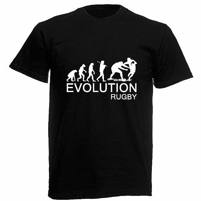Camiseta Hombre Evolution Rugby - camiseta 100% algodon LaMAGLIERIA: Amazon.es: Ropa y accesorios