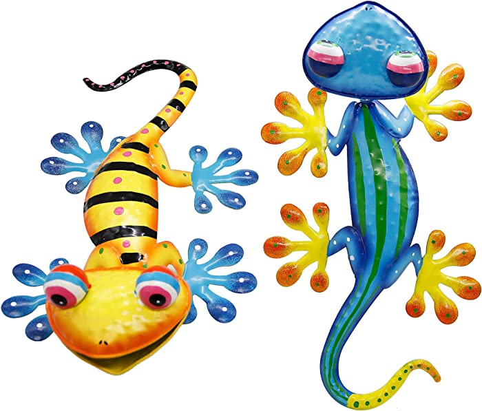 Juegoal 2 Pack 15 Inch Metal Gecko Wall Art with Shaking Head Large Garden Wall Decor Inspirational Sculpture Hang for Indoor Outdoor Home Bedroom Living Room