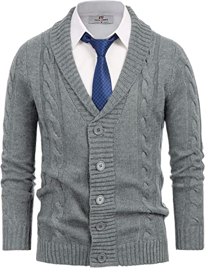 Paul Jones Mens Shawl Collar Cardigan Sweaters Cable Button Down Sweater for Men