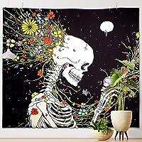 Coolzon Cráneo Tapiz Pared Decoracion, Tapiz de Pared Mandala con Esqueleto Humano y Estampado de Flores Tapestry…