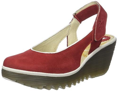 London Footwear - Retro aperto donna , rosso (rosso), 36 EU