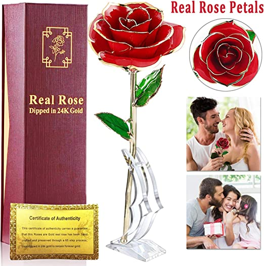 24K Gold Plated Rose Flower Valentine/'s Day Girl Birthday Romantic Gift With Box