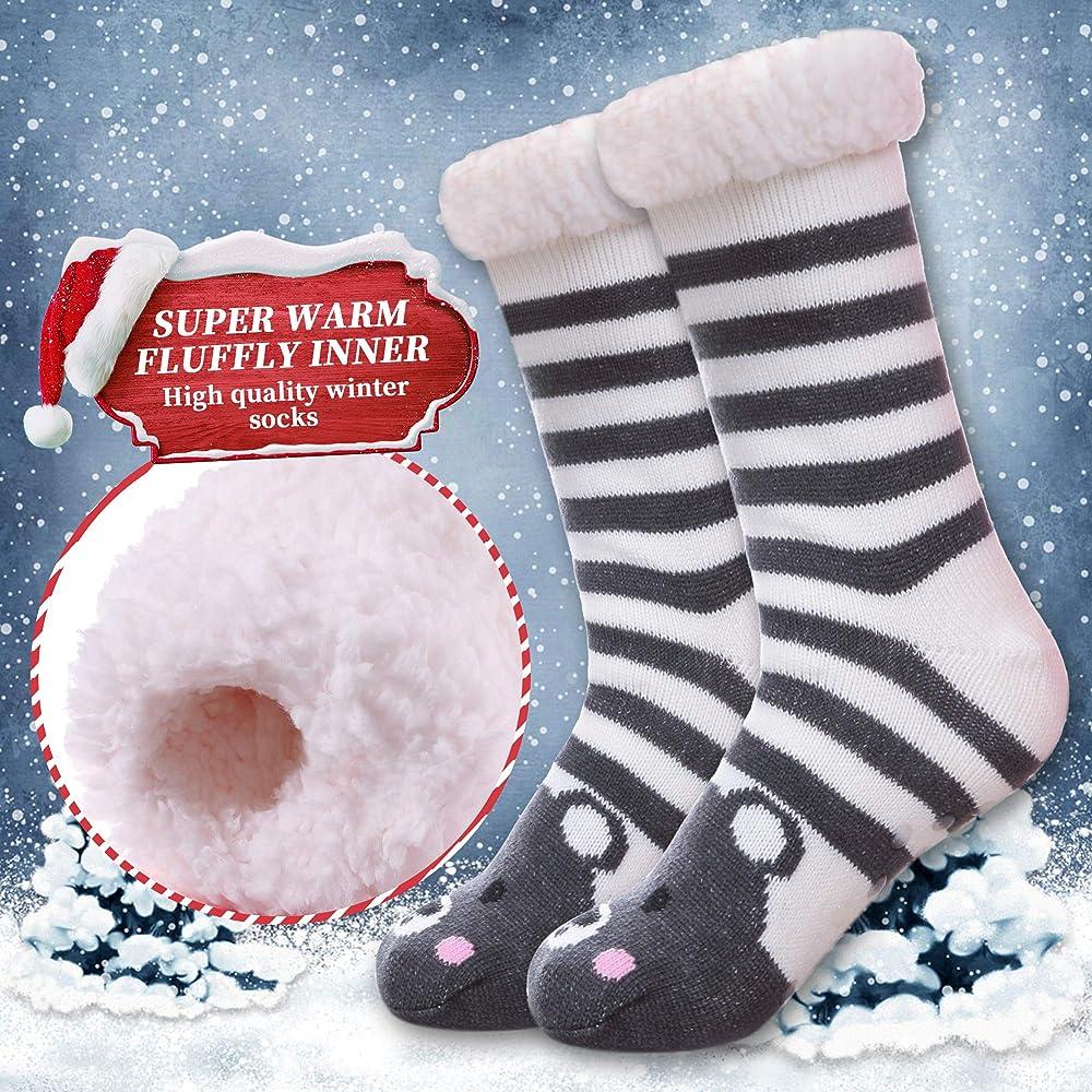 Womens Plush Sherpa Winter Fleece Lining Slipper Socks with Non Slip Grips