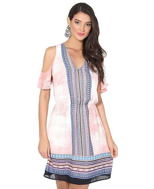 heißes Produkt großer Rabattverkauf Sonderteil Damen Ethno Print Kleid Schulterfrei Kurzes Midikleid Taschen ...