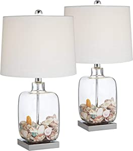 Coastal Accent Table Lamps Set of 2 Clear Glass Fillable Sea Shells White Drum Shade for Living Room Family Bedroom - 360 Lighting