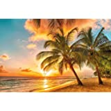 Photographic Wallpaper Barbados for mural decoration, sunset Caribbean Beach Sea Palm Beach summer Island Sunset Dream Holiday I paperhanging Wallpaper poster wall decor by GREAT ART 82.7 x 55 Inch
