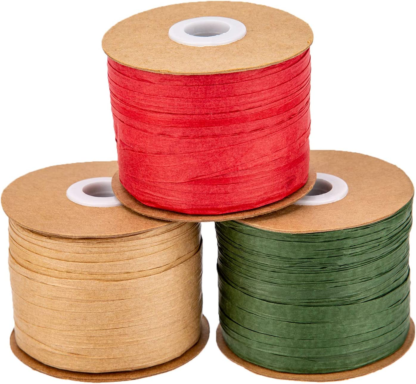 AIEX 3 Roll 984 feet Raffia Ribbon for Gift Wrapping 0.25inch Width Paper Twine for DIY Crafts Red//Green//Kraft 3 Color Raffia Paper Ribbon for Christmas Gift Packing
