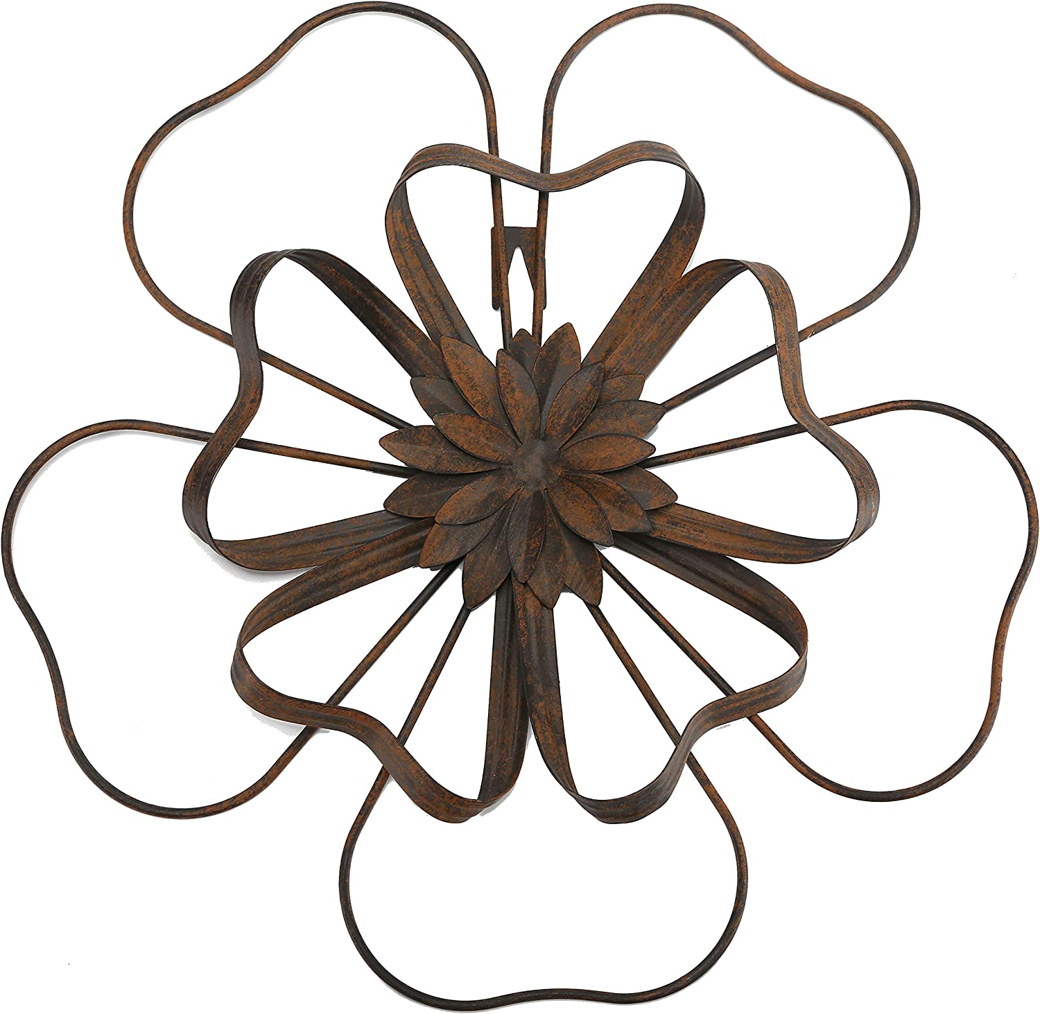 "Scwhousi Metal Flower Wall Decor Outdoor Garden Wall Art Sculpture,Rustic(14.25"" 1.75"")"