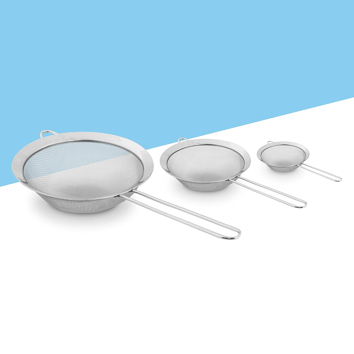 Stainless Steel Strainer Set - 3 Sieve Head Sizes 8, 12 and 18 cm ...
