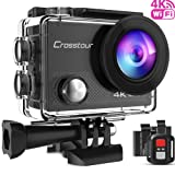 Crosstour Wi-Fi Sports Camera 4 K Ultra HD 16 MP 170 ° Wide-angle Waterproof 30 M Camera Camcorder with 2 inch LCD 2 Batteries 1050 mAh Rechargeable with Remote Control and 18 accessories ct9000