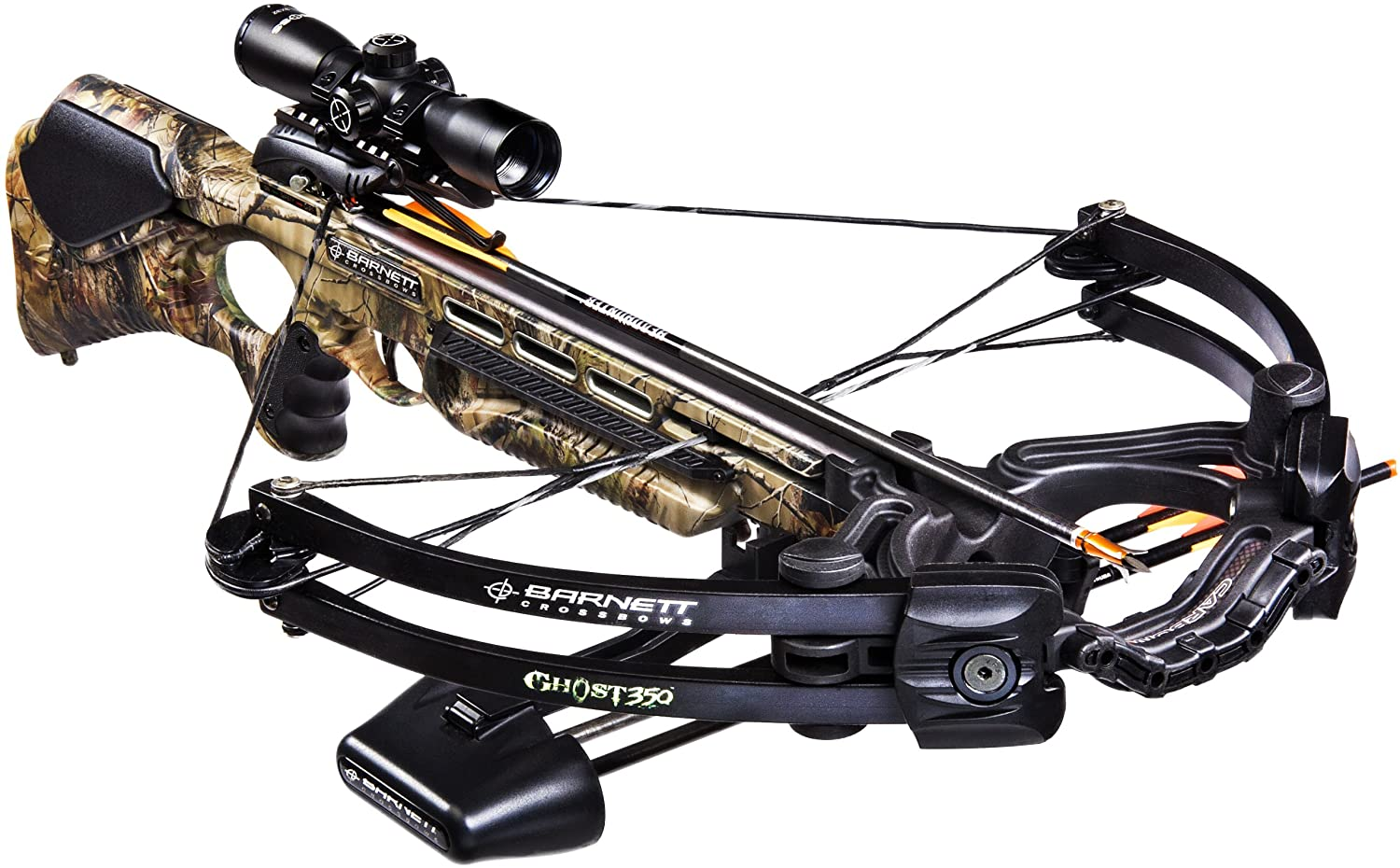 Barnett Ghost 350 CRT Crossbow Package Quiver, 3 – 20-Inch Arrows and Illuminated 3x32mm Scope