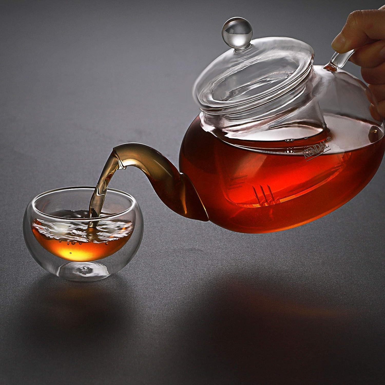 27 oz Glass Filtering Tea Maker Teapot with a Warmer and 6 Tea Cups CJ-800ml
