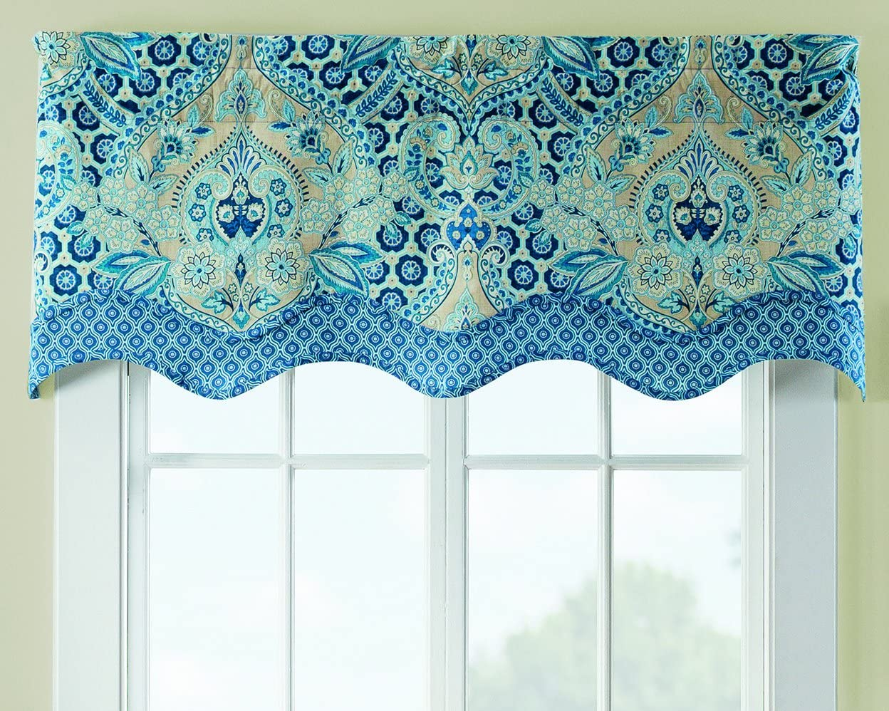 Waverly Valances for Windows – Moonlit Shadows 52 x 18 Short Curtain Valance Small Window Curtains Bathroom, Living Room and Kitchens, Lapis