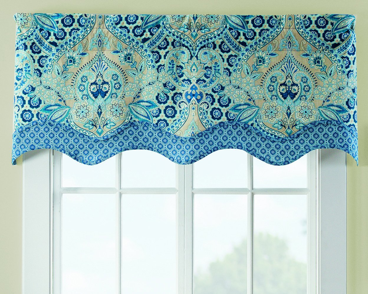WAVERLY Moonlit Shadows Window Valance 52x18 Lapis