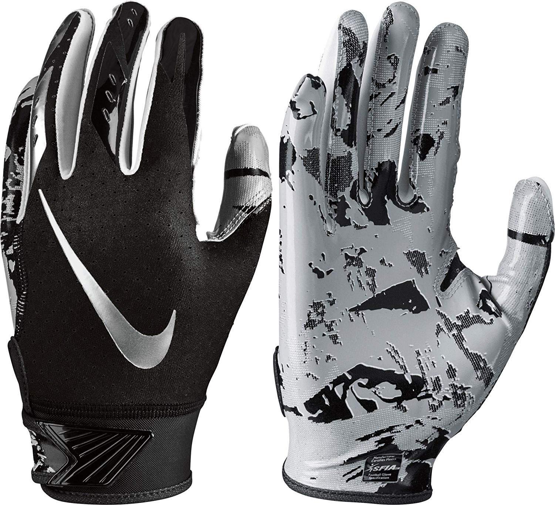 Boy's Nike Vapor Jet 5.0 Football Glove Black/Chrome Size Small