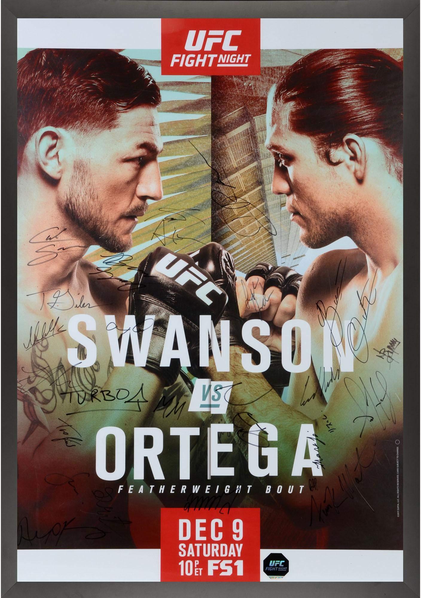 "UFC Fight Night 123 Swanson vs. Ortega Framed Autographed 27"" x 39"" 26 Signature Fight Poster Fanatics Authentic Certified"