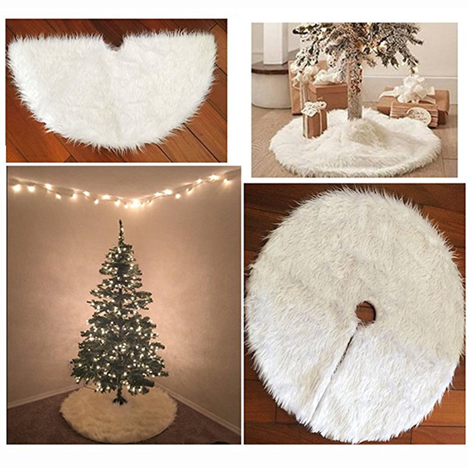 WIN White Christmas Tree Skirt Soft Snow Blanket Holiday Ornaments Decoration (78cm)