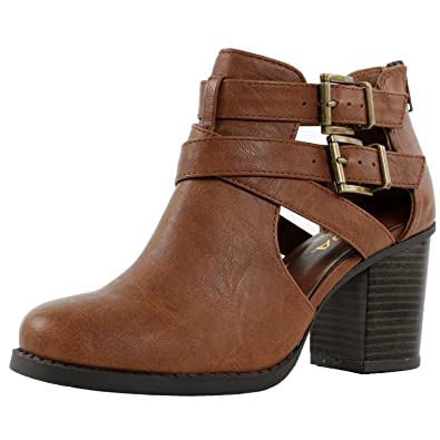 Amazon.com | Women's Ankle Bootie With Low Heel And Cut-Out Side ...