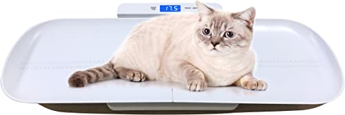 ONETWOTHREE Precision Digital Pet Scale for Dogs and Cats with 3 Weighing Modes, Tray Size 27.5 Inches, 220 Pounds Capacity White