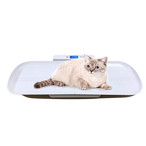 OneTwoThree Báscula digital para mascotas para medir el peso del perro y gato con precisión,