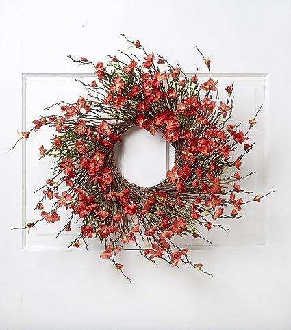 Amazon Com Hm 22 Inch Red Spring Front Door Wreath Summer Wreath