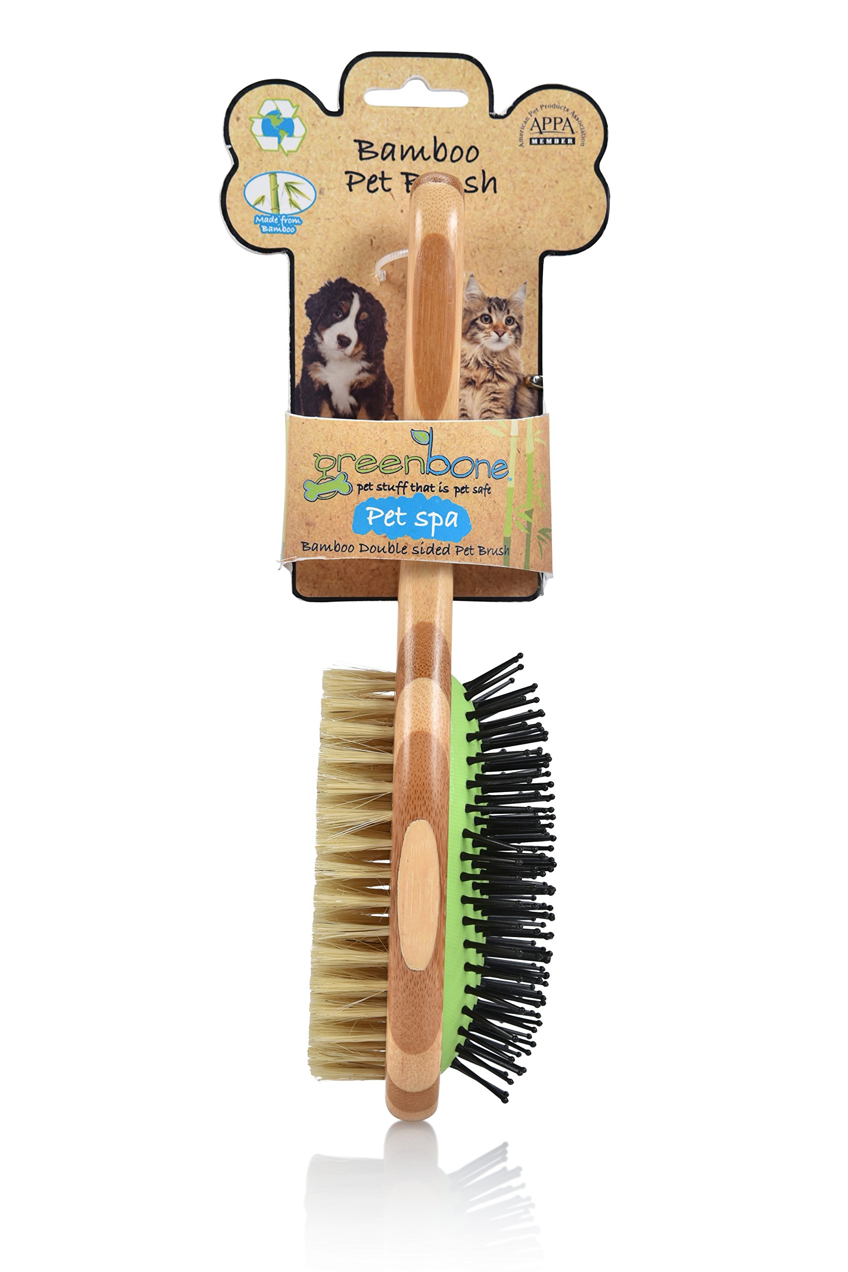 Greenbone All Natural Bamboo Pet Grooming Brushes - Made from Sustainable Materials (Double Sided Brush)