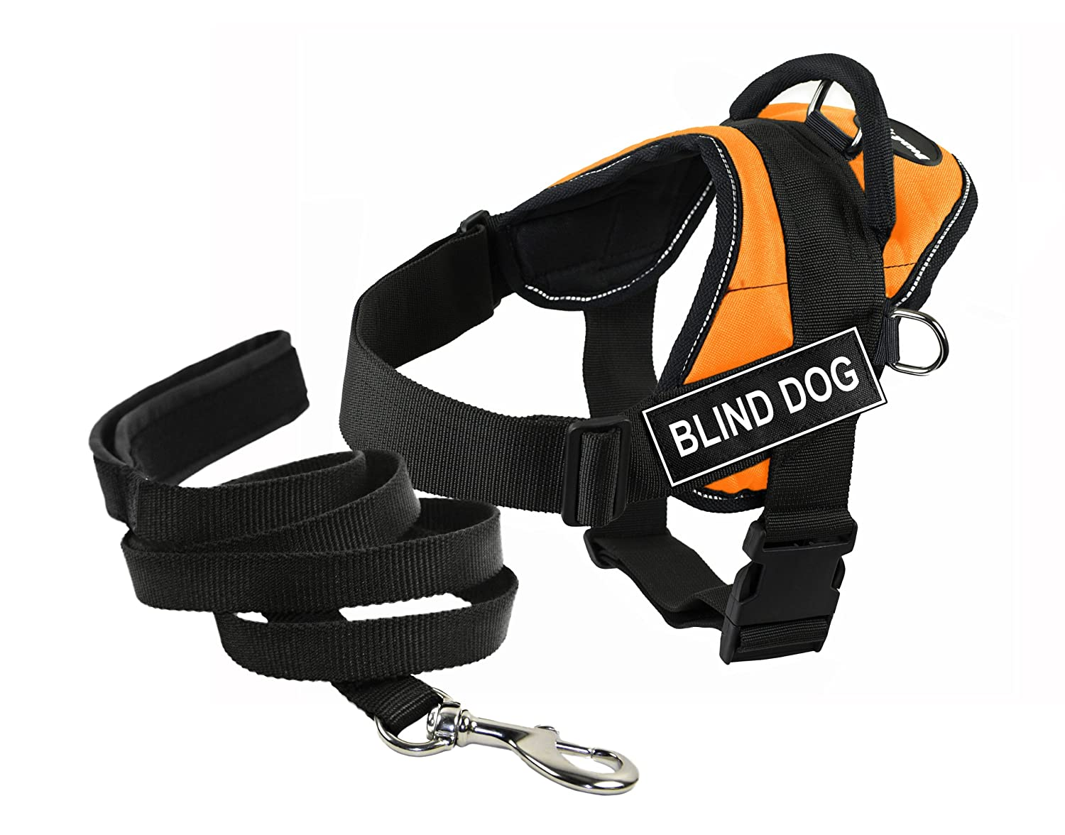 Dean & Tyler's DT Works orange Blind Dog  Harness with, Medium, and Black 6 ft Padded Puppy Leash.