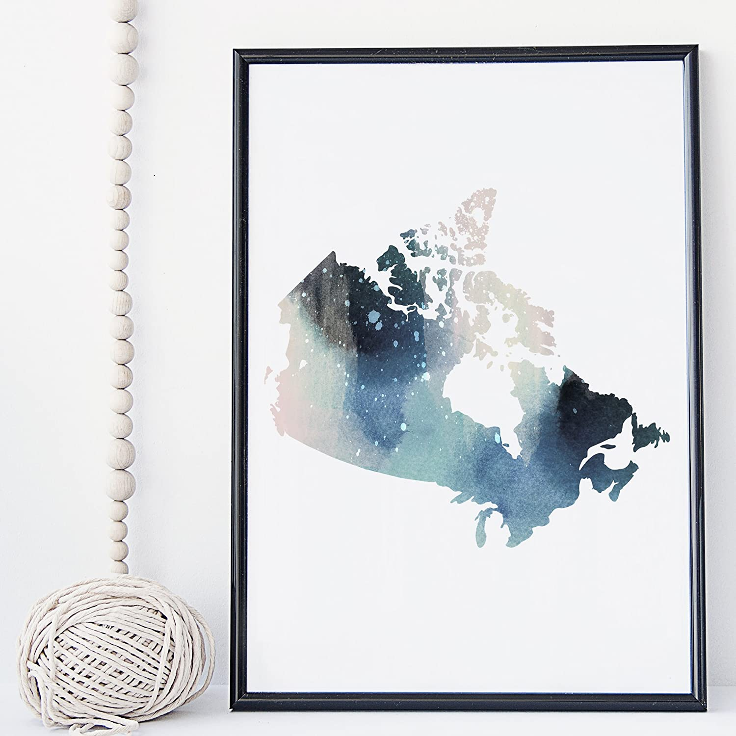 Canada map watercolor wall art print poster canadian map unframed