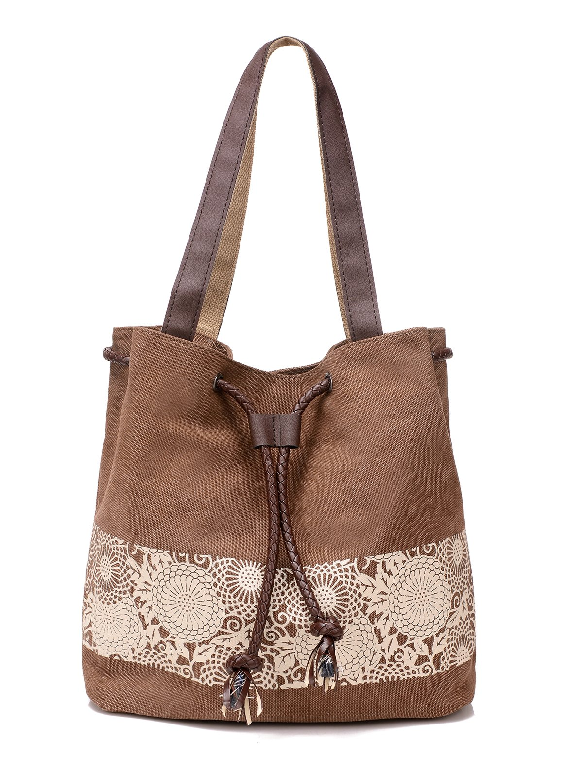 DOURR Women's Canvas Shoulder Bag Casual Tote Bag Handbag (brown)