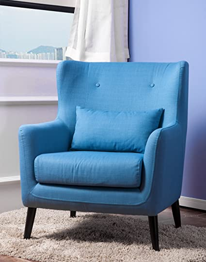 Merax Wing Chair Living Room Chairs Cushioned Accent Arm Chair (Blue)