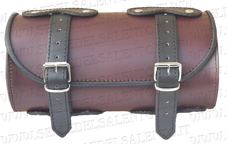 Barilotto pelle bicolore marrone castagna 20x10 moto porta attrezzi borsa biker bikebag Satteltasche compatibile con harley devindson moto guzzi