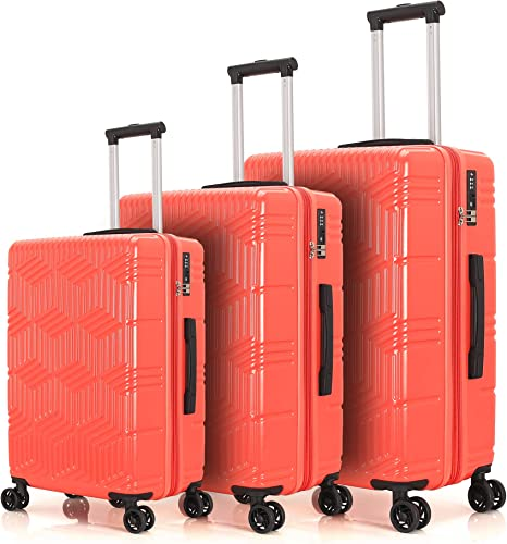 Set of 3 Travel Luggage Suitcase, ABS PC Luggage Light Weight Suitcase with Expandable Coral