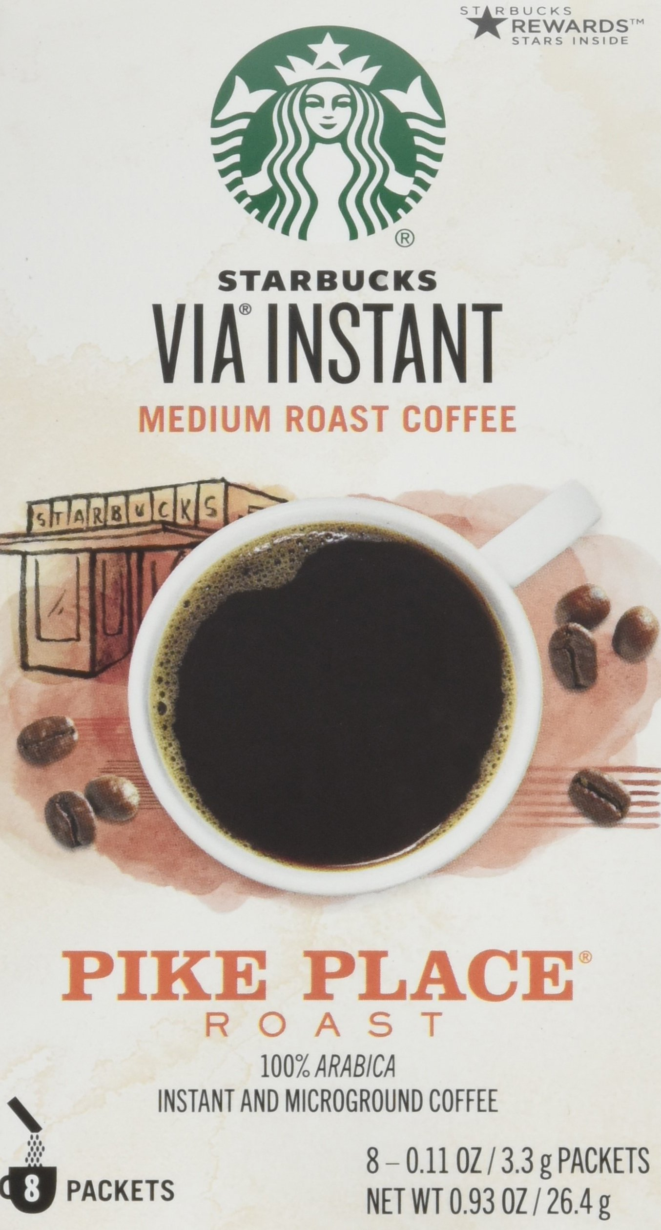 Starbucks Via Instant Medium Roast Coffee Pike Place Roast 100% ARABICA 8 Packets (Pack of 4)8-0.11oz