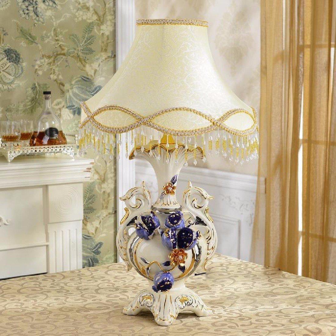 SDKKY Europäischen Stil Lampe, keramische Wohnzimmer Dekoration, Luxus High-End-pastorale Nachttischlampen, Schlafzimmer Hochzeit Raumbeleuchtung,A
