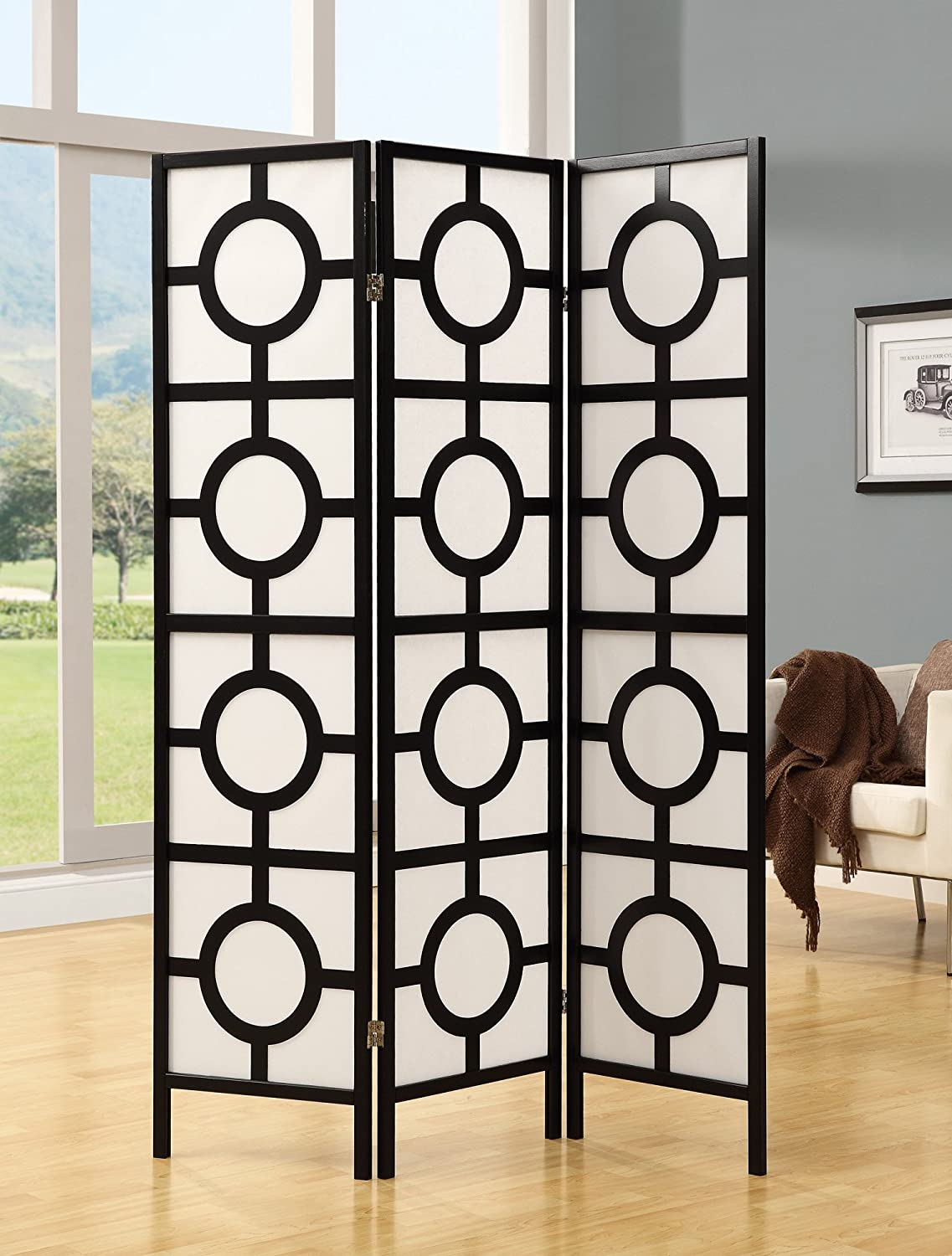 Monarch Specialties Frame 3-Panel Circle Design Folding Screen, Black I 4619 M323099