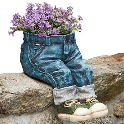Bits and Pieces-Decorative Denim Planter-Polyresin Jeans Sculpture - Fun Flower Pot : Garden & Outdoor