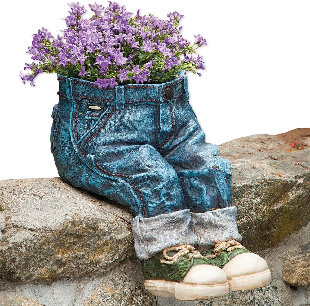 Bits and Pieces-Decorative Denim Planter-Polyresin Jeans Sculpture – Fun Flower Pot