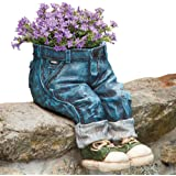Bits and Pieces-Decorative Denim Planter-Polyresin Jeans Sculpture - Fun Flower Pot