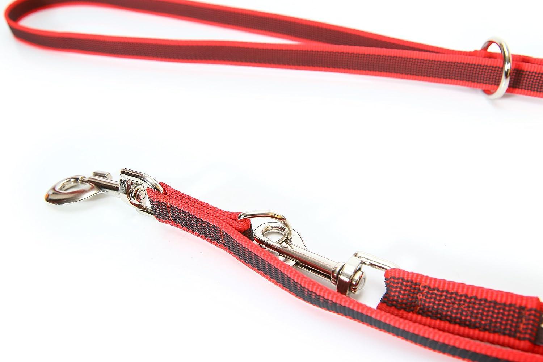 con Mango y Junta T/órica Julius-K9 Color /& Gray Correa para Perro 1.2 m Rojo//Gris