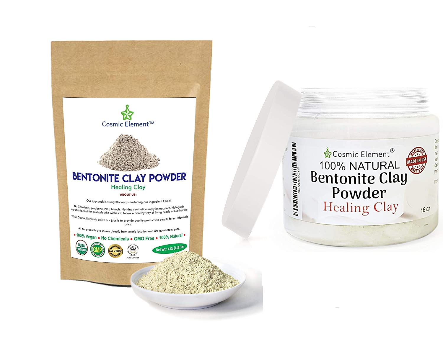 Cosmic Element Bentonite Clay Powder 100% Pure & Unrefined 4 and 16 Ounce Bundle Pack Premium Food Grade Calcium Bentonite Clay - Heavy Metal Detox and Cleanse