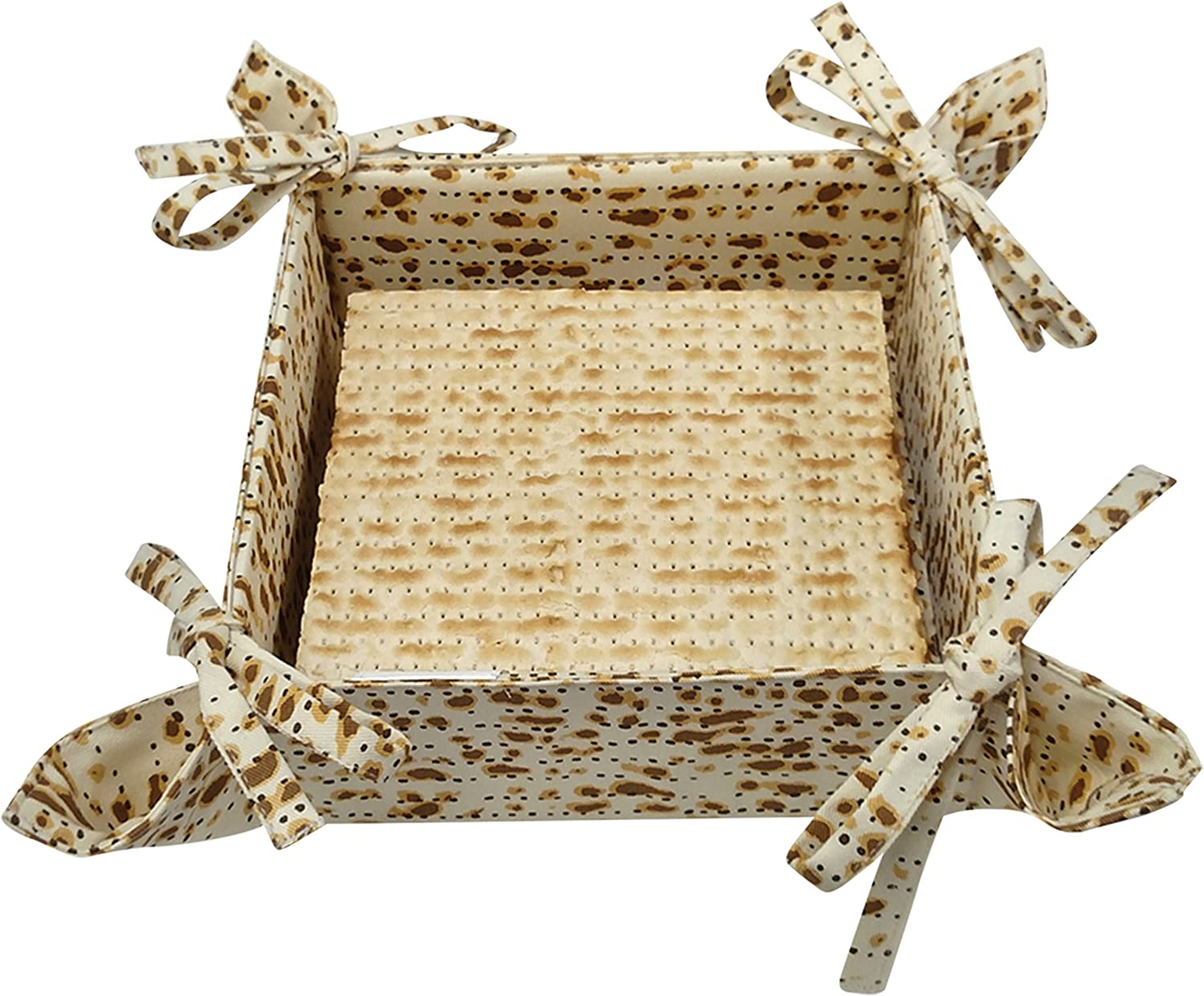 The Kosher Cook Decorative Passover Matzah Basket - Foldable, Bow Ties, Matza Print Design - 100% Cotton, 8 Square - Pesach Seder and Kitchen Accessories