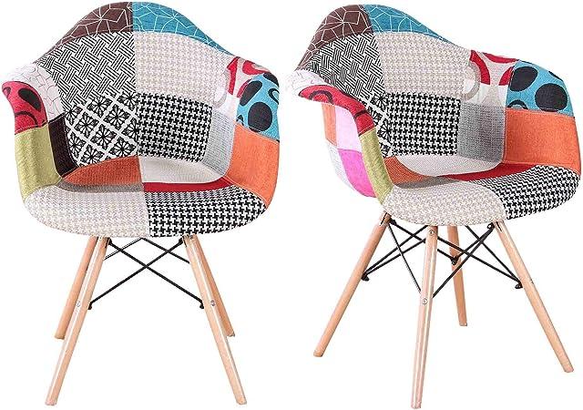 Muebles Lot de 2 chaises de salle à manger modernes en tissu multicolore style lin avec dossier et pieds en bois pour salle à manger, chambre à