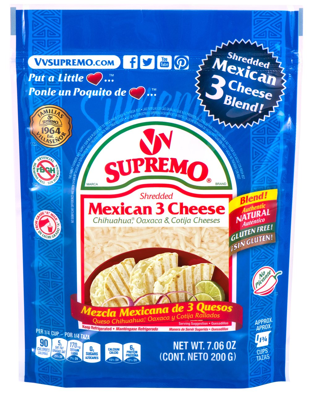 V&V Supremo, 3-Cheese Shredded Mexican Blend, 7.06 oz