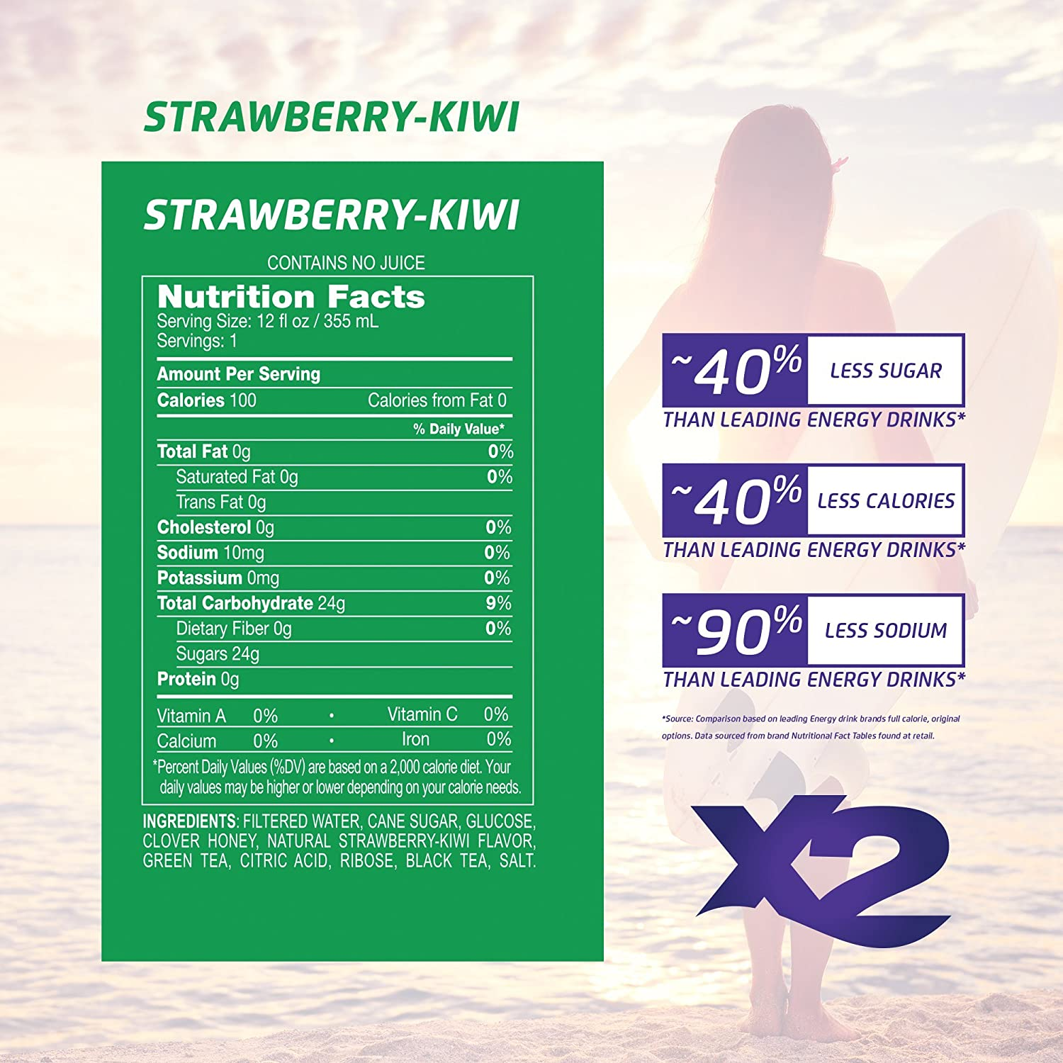 Amazon.com : X2 All Natural Healthy Energy Drink: Great Tasting Non-Carbonated Energy Beverage with No Crash or Jitters - Less Sugar, Lower Calories - No ...