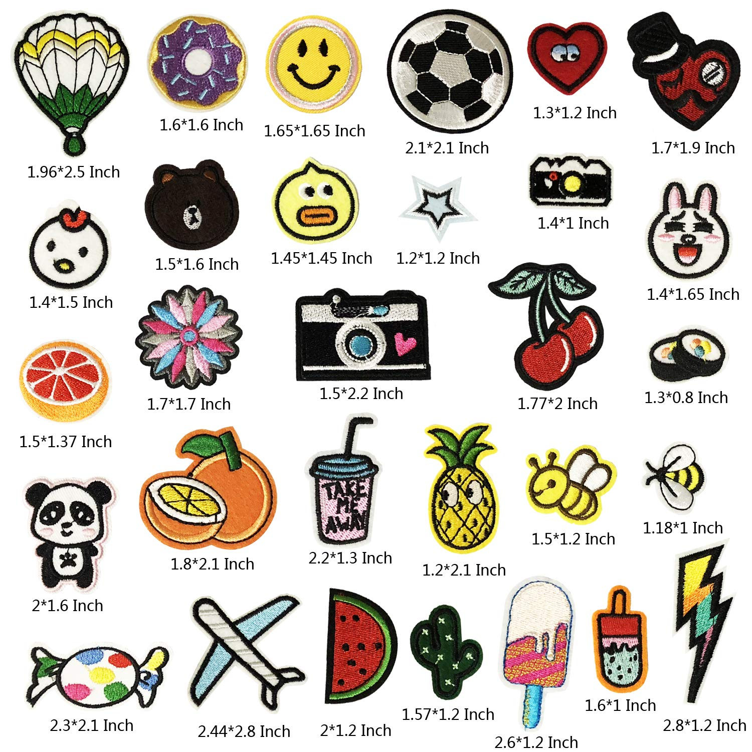 B Style 30PCS Iron On Patches Embroidered Appliques DIY Decoration or Repair,Sew On Patches for Clothing Backpacks Jeans Caps Shoes etc