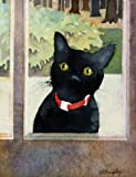 Susan Avis Murphy Baxter at the Door, Giclee Print of Watercolor Pet Portrait, Showing a Black Cat Named Baxter Looking in Through the Door, 7 X 9 Inches