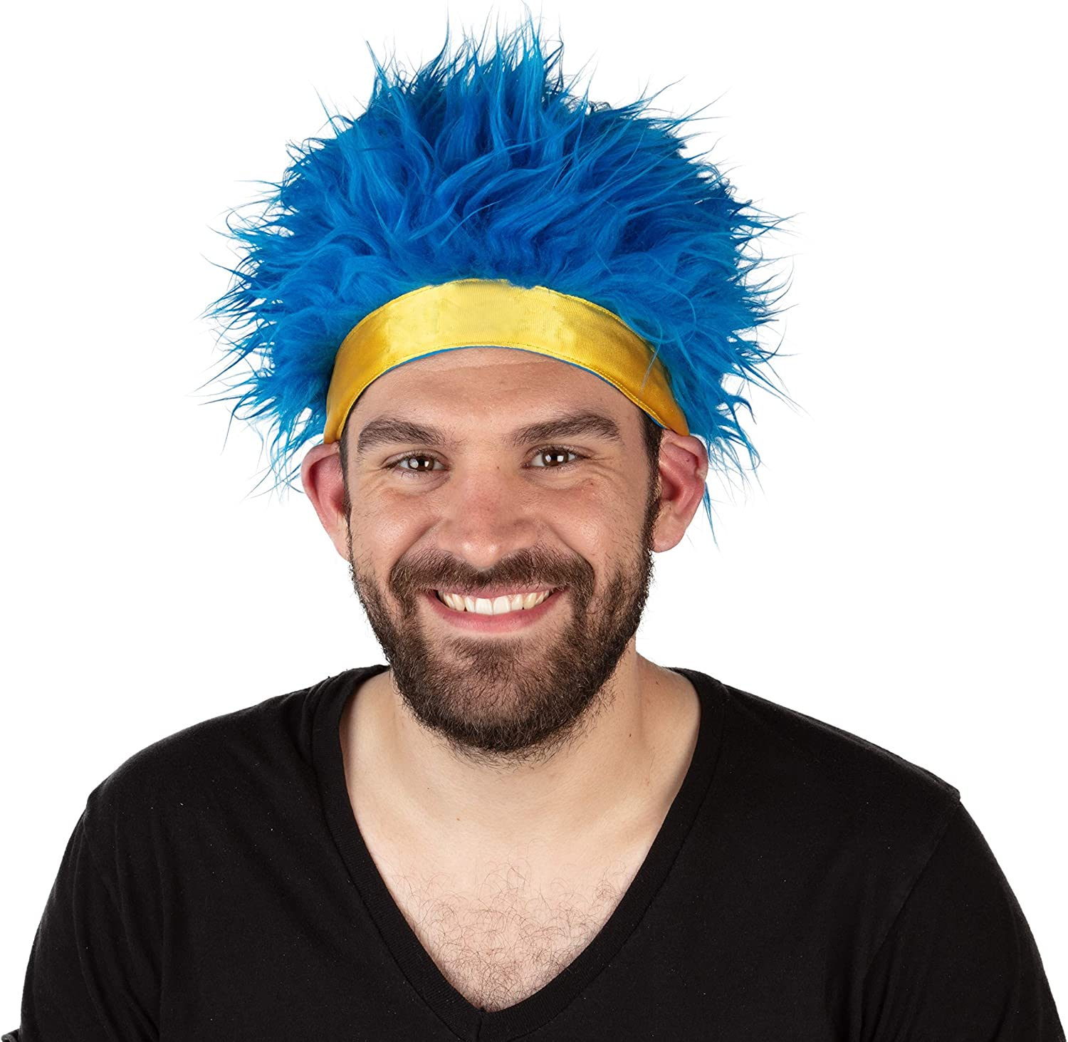Crazy Short Spiky Blue Hair Wig with Yellow Headband - Costumes, Cosplay, Anime, Halloween, Party - Adjustable One Size Fits Most - Synthetic - Ninja Headwear